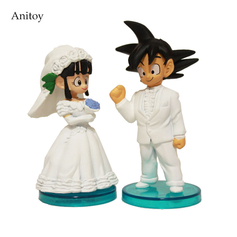 2pcs/set Anime Cartoon Dragon Ball Goku ChiChi Wedding PVC Action Figure Collectible Model Toy 8cm Anime Figure anime dragon ball z goku wife chichi pvc action figure toy loli collection model toy 14cm