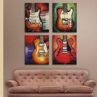 Sala de aula de música Decor imagem Impressão Sobre Tela Abstrato 4 peças Guitarra Música Pinturas Parede Pictures Para Quarto Arte Da Parede