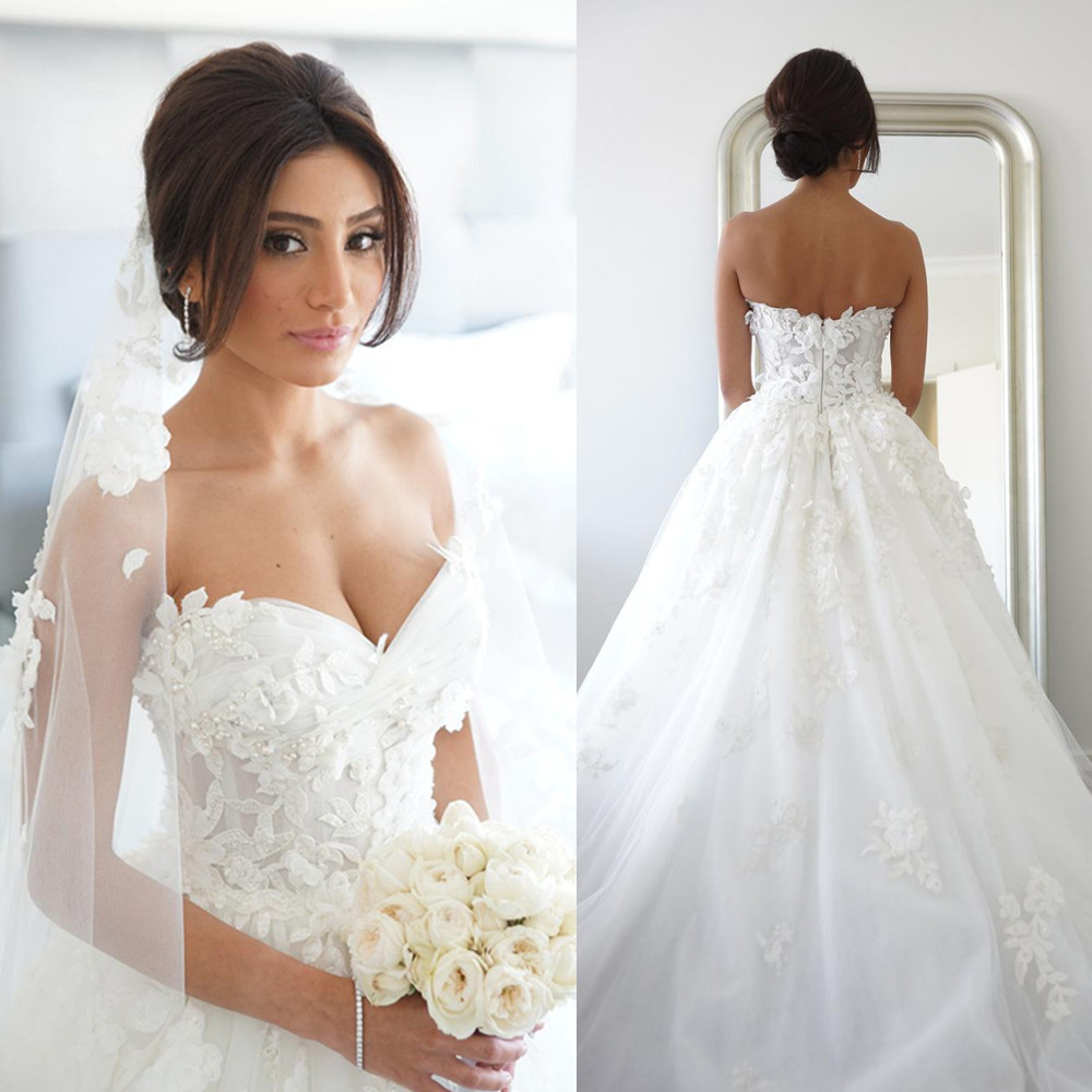 us $160.65 15% off|vestido de noiva elegant sweetheart tulle appliques lace  a line princess wedding dresses bridal gown bride dress wedding gown-in