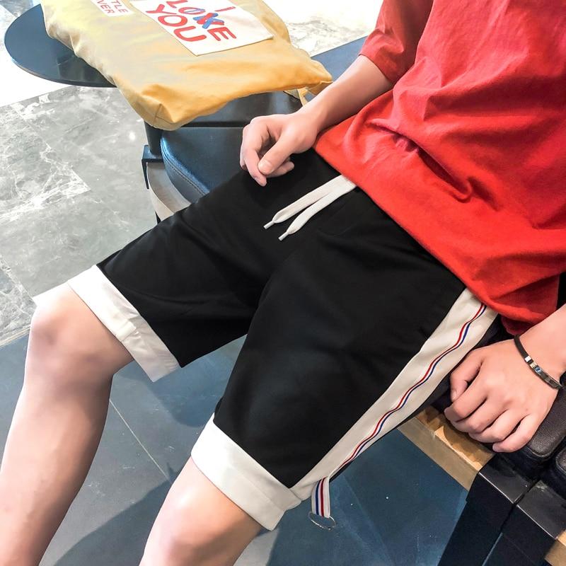 MADHERO Brand Clothing Mens Patchwork Shorts with Pockets Drawstring Elastic Waist STripes Shorts Summer Short Pants For Man