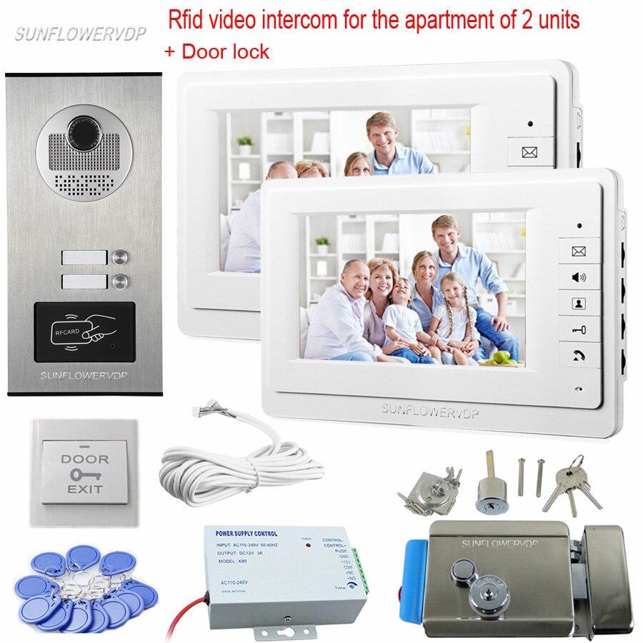 Rfid Video Doorbell 2 Color 7 Monitors Home Intercom Video Door