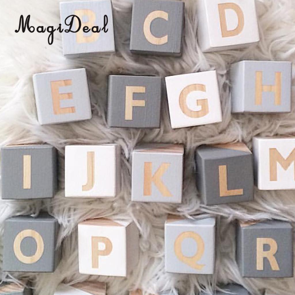 MagiDeal Wooden 26 English Alphabet Letters Kids Educational Toys Embellishenments Reading & Writing Alphabet Blocks alphabet