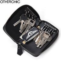 OTHERCHIC Genuine Leather Car Key Wallets Men Key Holders Housekeeper Keys Organizer Women Keychain Covers Car