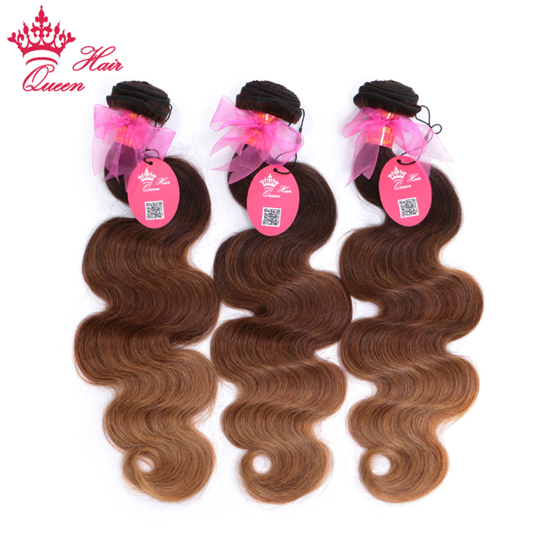 Queen Hair Products Ombre Brazilian Hair Body Wave #2/6/27 Human Hair Weave Bundles Deal 3 Bundles 3 Tone Remy Hair Extensions
