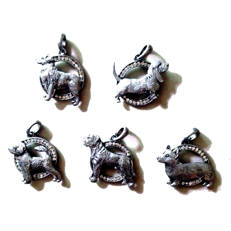 Cute Vivid Antique Silver Crystals Dog Charm Pendant OR Bar/Clutch Pin Brooches For Women Fashion Pet Ornament Jewelry accessory