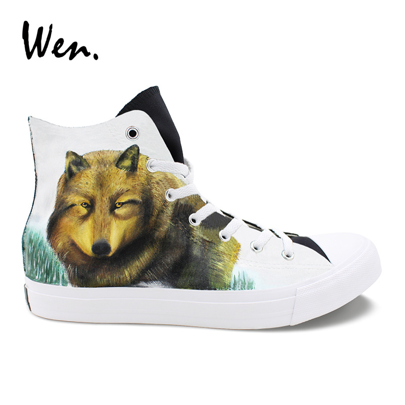 Wen Athletics Shoes Hand Painted Wolf Snowfield High Top Canvas Shoes Designs Sneakers for Women Men Skateboarding gold plated rca male to rca female right angle extension adapter black golden 3 pcs