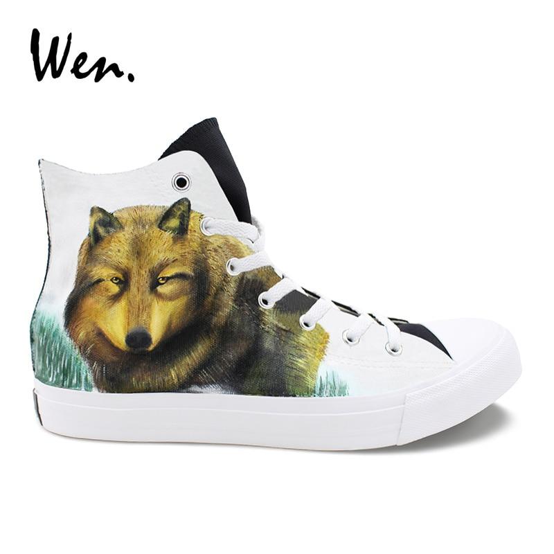 Wen chaussures d'athlétisme peintes à la main Wolf Snowfield chaussures de toile haut de gamme conçoit des baskets pour femmes hommes skateboard