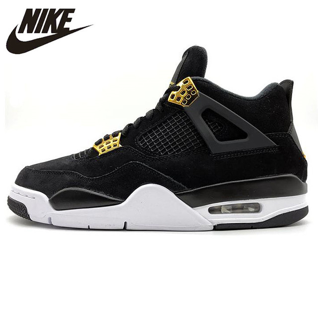 arriving uk store great deals 2017 € 151.29 30% de réduction|Nike Air Jordan 4 Redevances AJ4 Joe 4 De Luxe En  Or Noir En Daim basketball pour hommes Chaussures, D'origine Sports de ...