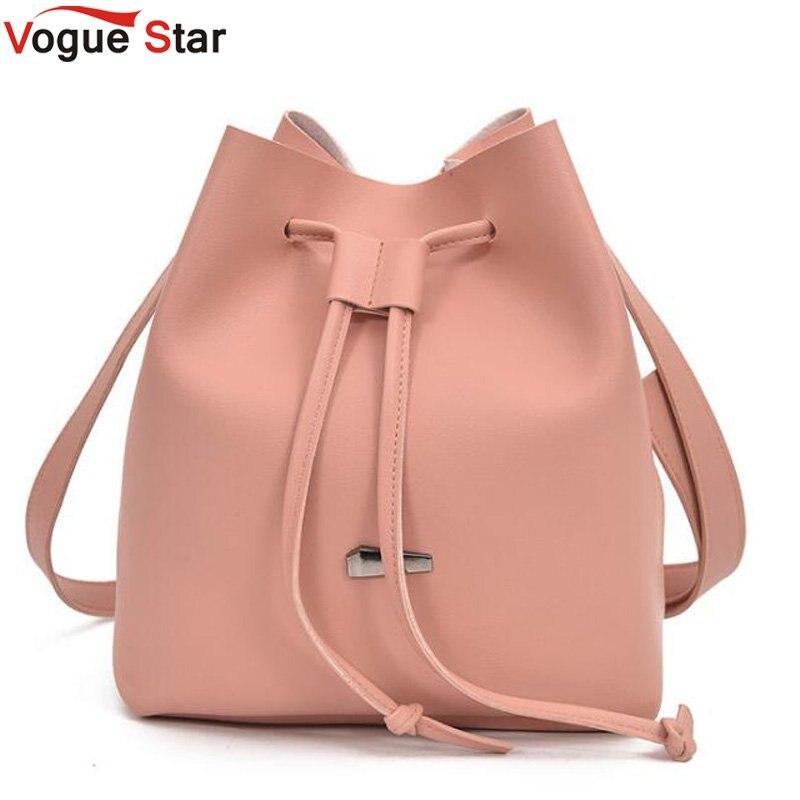 e8ebdde36b53 US $8.76 37% OFF|2019 Girls Cute Korean Bags Bucket Leather Shoulder Sling  Bags For Women Drawstring Handbags Ladies Crossbody Bucket Bags LB652-in ...