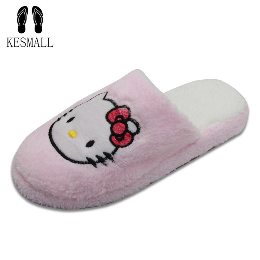 KESMALL New Arrival Women Cute Pig Home Floor Soft Stripe Slippers Female Comfortable Cotton-padded Warm Slippers Shoes WS324 kesmall soft plush cotton cute slippers shoes non slip floor indoor house home furry slippers women shoes for bedroom ws330