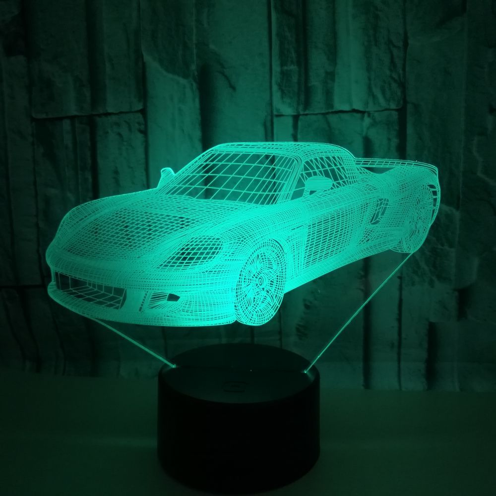 LED New Creative Sports Car 3D Lamp USB 7 Color Home Decoration Table Lamp Child Bedroom Sleep Night Light Christmas Gift mipow btl300 creative led light bluetooth aromatherapy flameless candle voice control lamp holiday party decoration gift