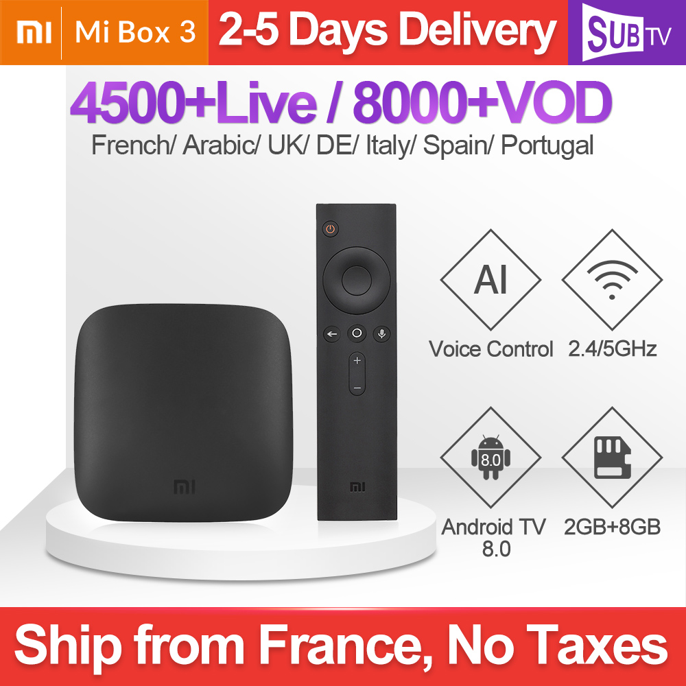 SUBTV 1 an IPTV arabe France IP TV Xiao mi Box 3 Android TV 8.0 2G + 8G BT double bande WIFI IPTV France arabe italie PortugalSUBTV 1 an IPTV arabe France IP TV Xiao mi Box 3 Android TV 8.0 2G + 8G BT double bande WIFI IPTV France arabe italie Portugal