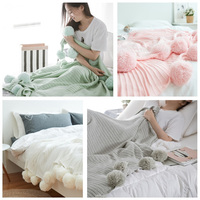 Fashion Blankets Fur Ball Knitted Blanket Sofa Bedding Decorative Cotton Throw Children Gift Kid Photography, 90*90cm 150x200cm