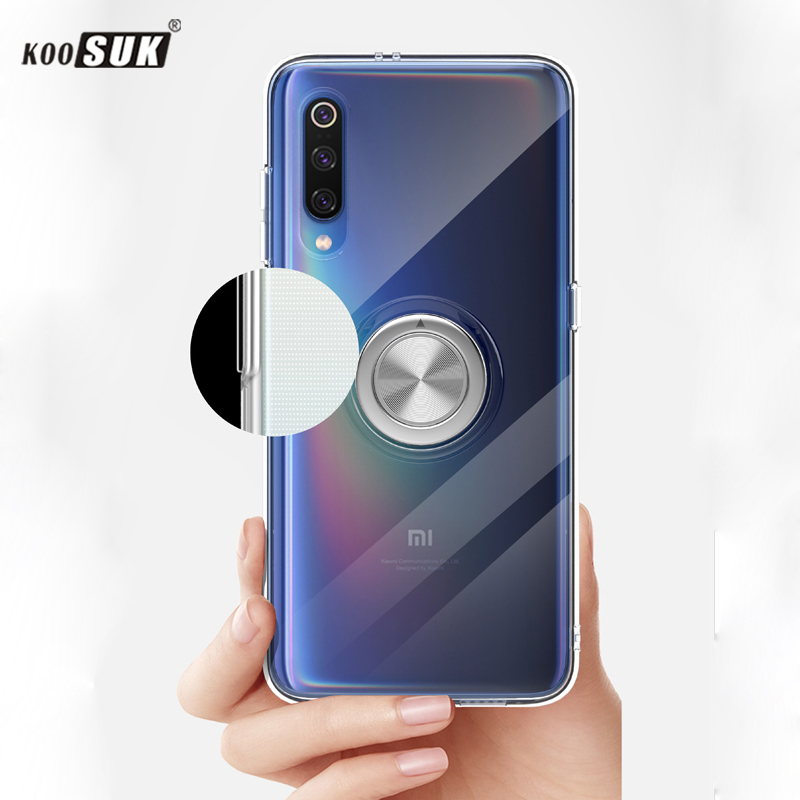 MI 9 Case For Xiaomi 9 Cover Luxury Transparent Soft Silicone Protection Ring Magnetism Phone Shell