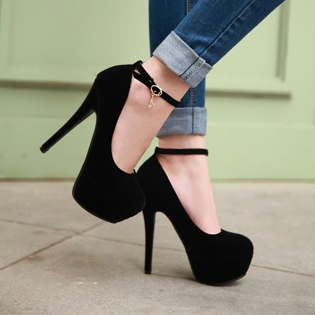 Nueva moda sexy para mujer primavera y otoño de tacón alto plataforma bombas zapato con cierre de tacón alto del partido mujer zapatos de gran tamaño 31-43