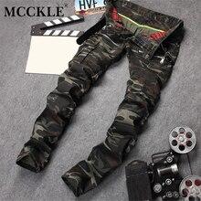 MCCKLE известная марка джинсы мужчины Камуфляж байкер джинсы мужчины Молнии Карманы Дизайнер Грузов Джинсовые Брюки Slim Fit мужские джинсы
