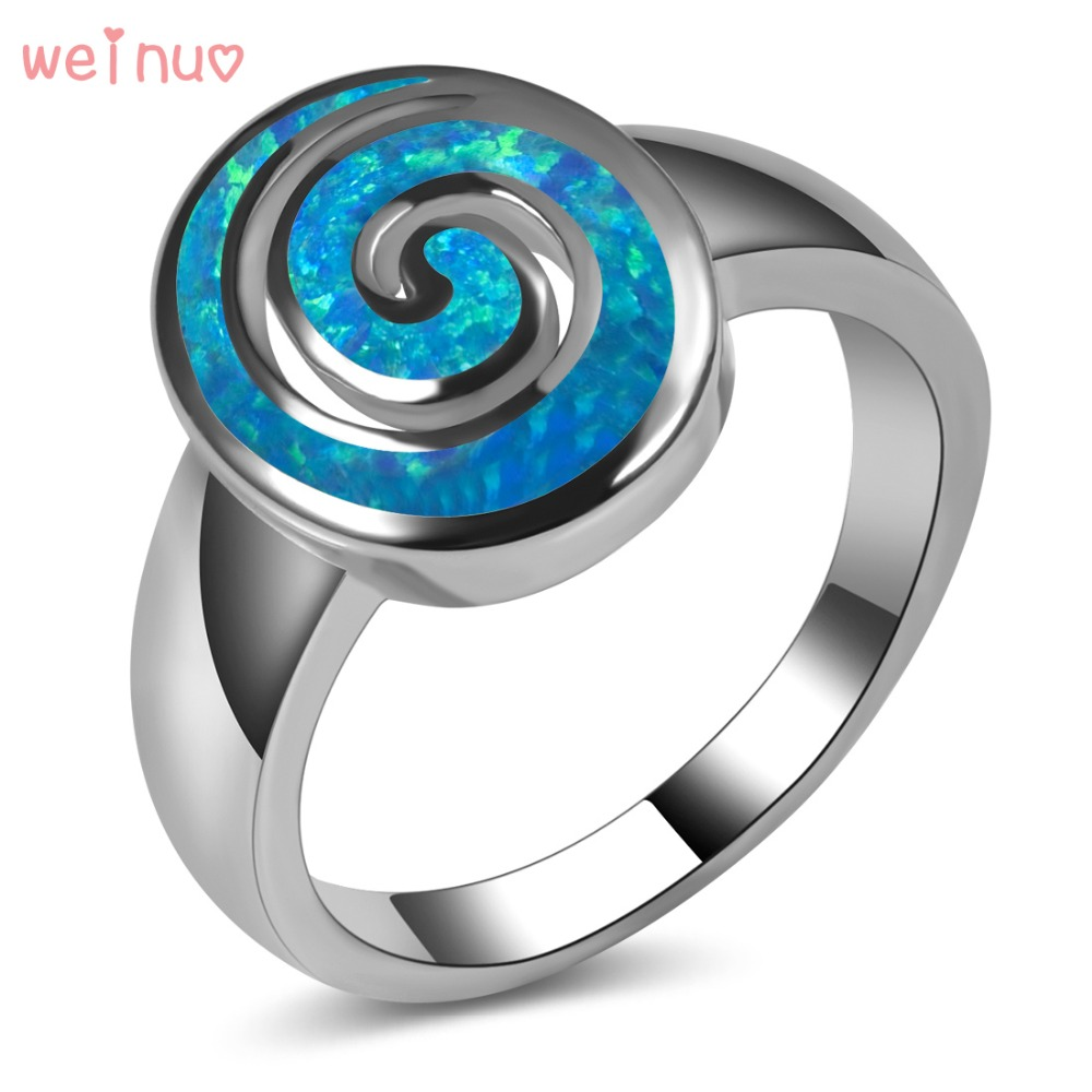 цена на Blue Opal Swirl Type Ring 925 Sterling Silver Top Quality Fancy Jewelry Wedding Ring Size 5 6 7 8 9 10 11 A213
