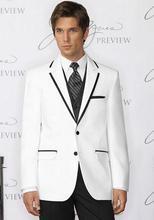 2017 New Arrival White Men Suits Slim Fit Men Tuxedos Black Notched Lapel Egde Wedding Suits For Men One Button Groomsmen Grooms