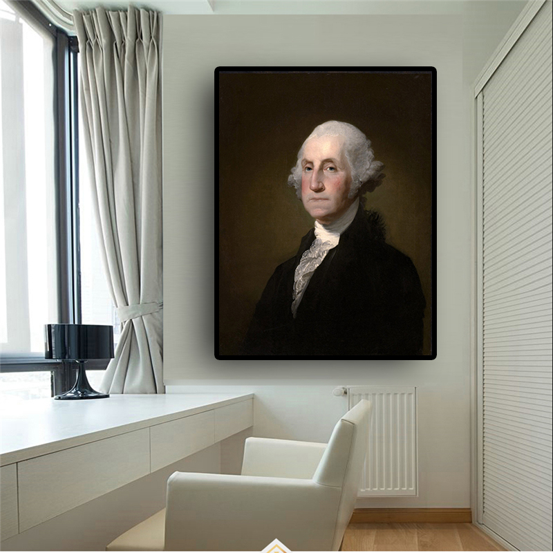 George Washington by Gilbert Stuart <font><b>Williamstown</b></font> Portrait Oil Painting on Canvas Posters and Print Wall Picture for Living Room image