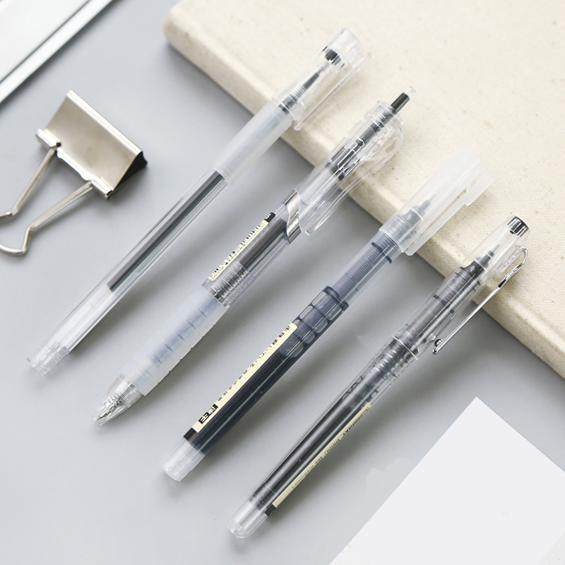 JIANWU 4pcs/set Simple Press Gel Pen Black Neuter Pen Lot  Pen Drawing Pen Students Stationery Kawaii 0.5mm