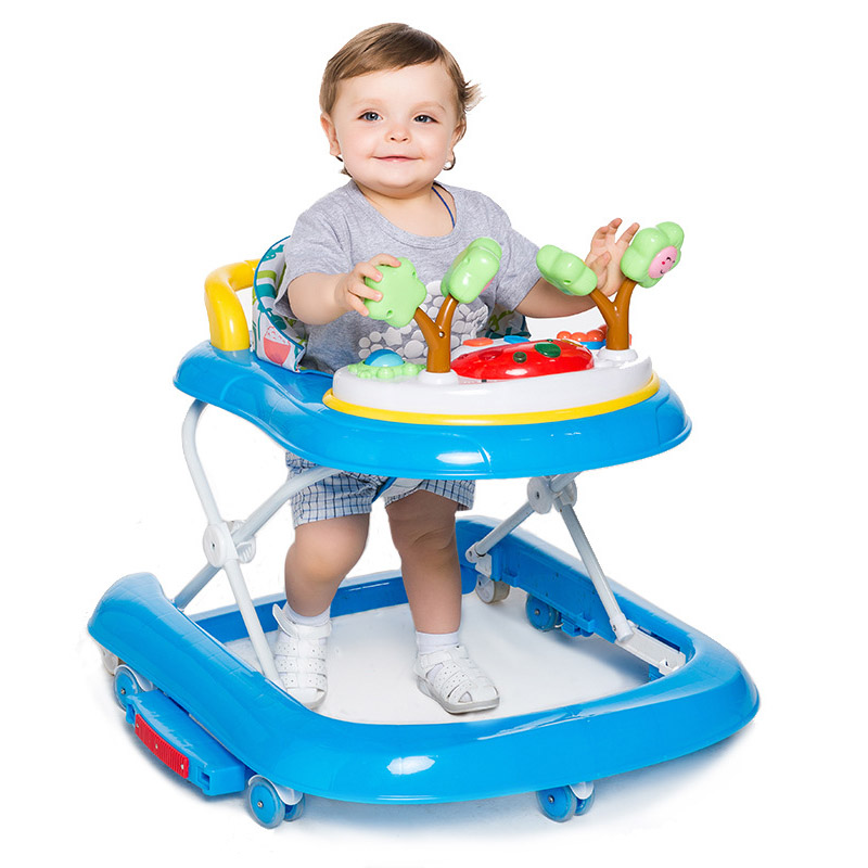 Folding Baby Walker Portable Toddler Baby Walker With Wheels Adjustable Anti Rollover Baby Walker Seat Musical Walk Learning Toy original fisher price multi function baby walker lion car children activity musical baby walker with wheels adjustable car