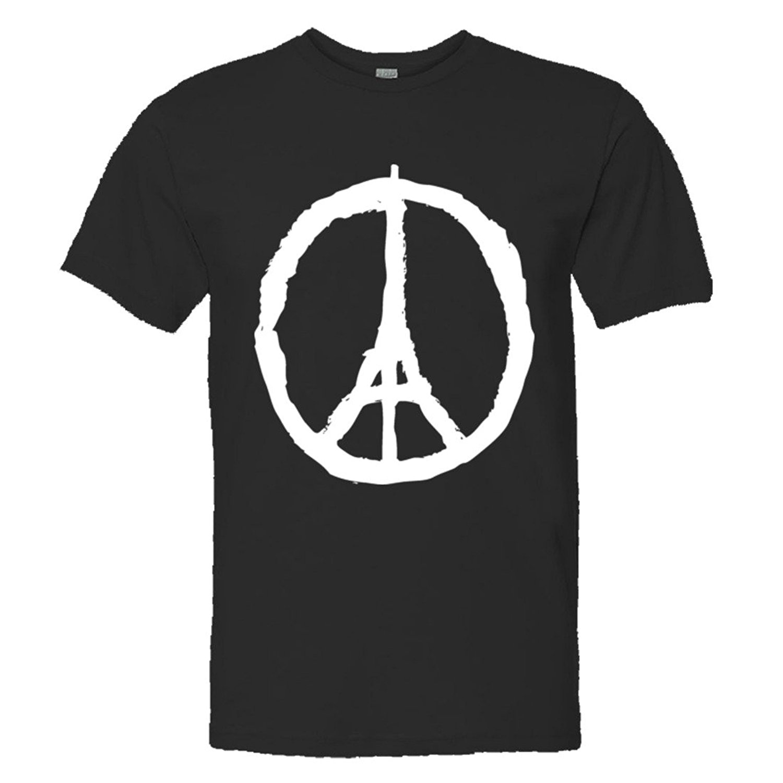 Black Cotton T-shirt Mens/unisex Support Paris France Peace Sign - Jean Jullien Soft Hq Fashion Tee