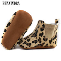 2016 Cute Fur Winter Boots Fashion Soft Bottom Baby Moccasin Leopard Baby First Walkers Warm Boots