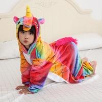 Girls Kigurumi 2018 Winter Pajamas For Boys Rainbow Cartoon Unicorn Kids Jumpsuit 4 6 8 10 12 Years Children Onesie Sleepwear