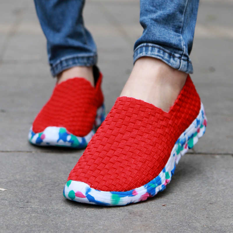 女性のカジュアルシューズ 2019 夏手作り織布靴最高品質通気性ファッション快適な女性のフラットシューズ女性ローファー