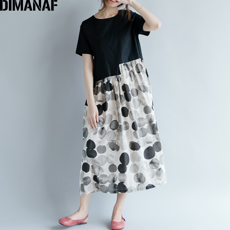6fed732c2e8 DIMANAF Women Dress Plus Size Summer Femme Sundress Clothing Linen Print  Dot Spliced Lady Elegnat Vestido Casual Long Dress 2018-in Dresses from  Women s ...