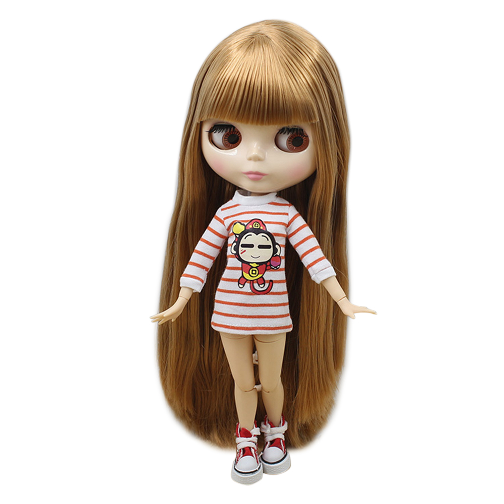Dolls Toys & Hobbies Factory Blyth 1/6 Nude Doll 280bl0535 Long Hair With Bangs Golden Color 4 Colors For Eyes Suitable For Diy