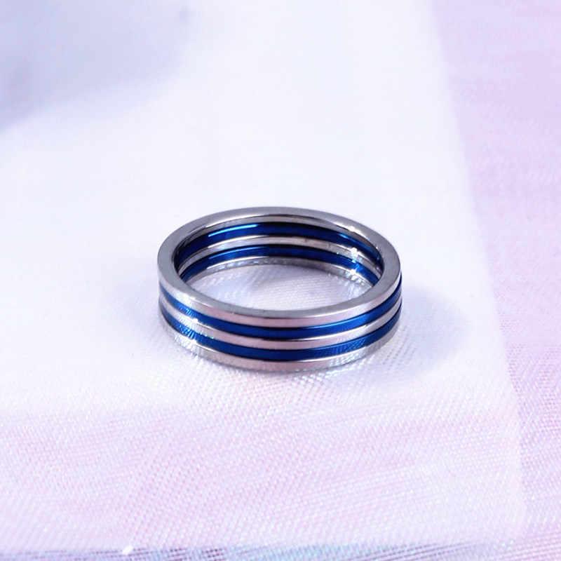 1MM Neue Punk Joint Kurze Dünne Titan Finger Ring 5Pcs in lot Blau Silber 6 7 8 9 # großhandel Paare Schwanz Ring