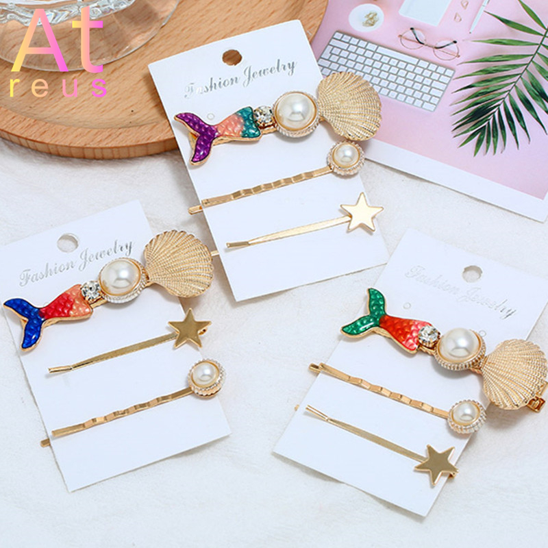 Mermaid-Tail-Hairpins Hairclips Headwear Shell Pearl Metal Gold Girls Women for Big Simulate