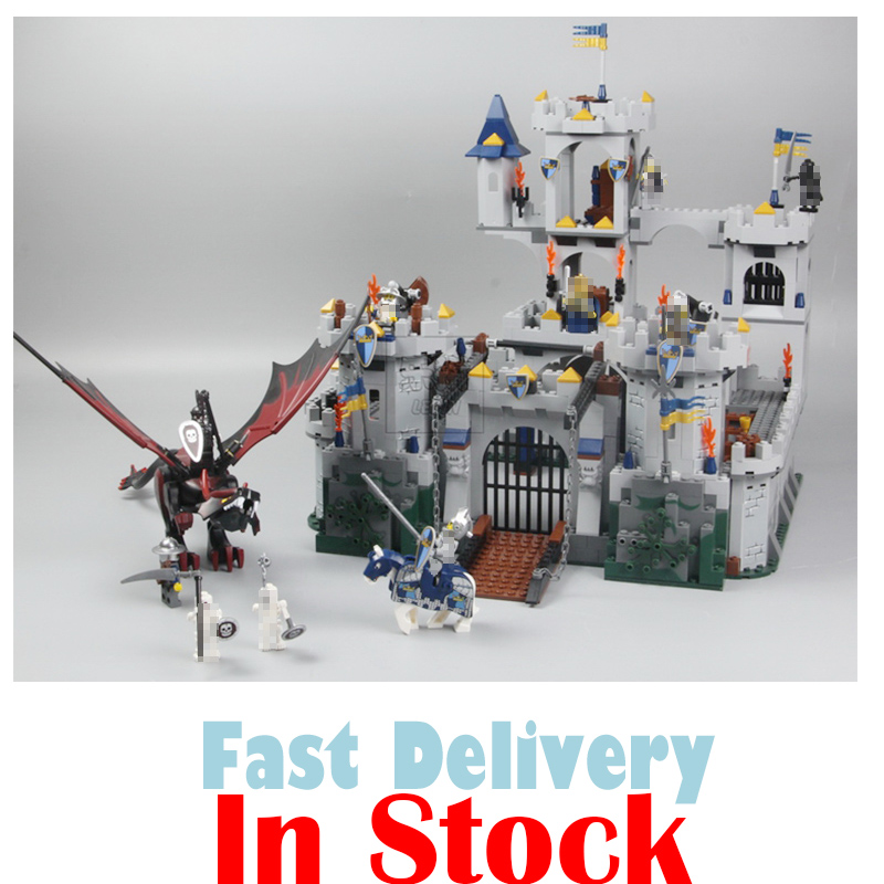 Lepin 16017 Fantasy Era King Castle Siege Dungeon Dragon Knights Skeletons Building Blocks Bricks Toys For Kids Compatible 7094 lepin 14004 knights beast master chaos chariot building bricks blocks set kids toys compatible 70314 nexus knights 334pcs set