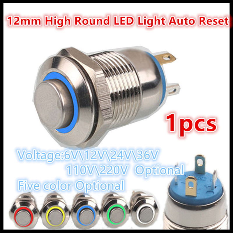 12mm High Round Colorful LED Light Shine Car Horn Auto Reset Waterproof Momentary Stainless Steel Metal