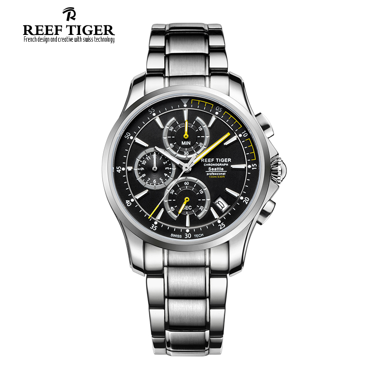 Reef Tiger/RT Watches Casual Sport Watches with Super Luminous Men's Chronograph Stop Watch with Date Steel Quartz Watch RGA1663 reef tiger brand men s luxury swiss sport watches silicone quartz super grand chronograph super bright watch relogio masculino