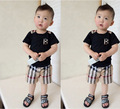 Hot 2015 new 100% cotton Summer 1set=1T-shirt+1pcs shorts baby boy clothing set for 2-5 years baby boy set boys clothes