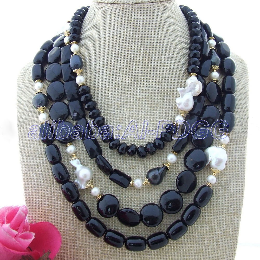 19-26 4 Strands White Keshi Pearl Onyx Necklace   free  shipment19-26 4 Strands White Keshi Pearl Onyx Necklace   free  shipment