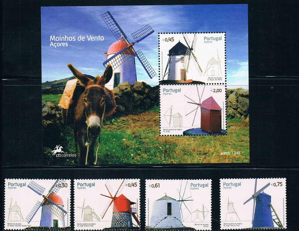 PT0105 Portuguese Azores 2007 windmills four stamps + M new 0731