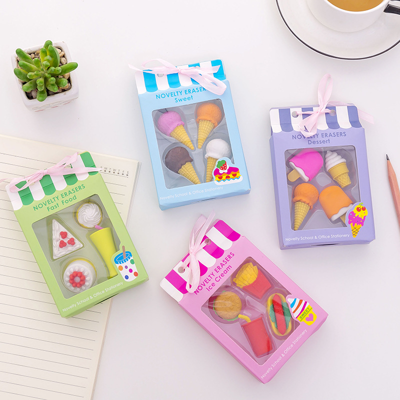 4Pcs/Box Kawaii Ice Cream Hamburger Erasers For Office School Creative Stationery Supplies Kids Writing Drawing Student Gift