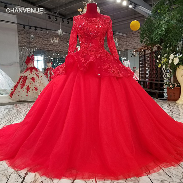 Ls63544 Red Ball Gown Evening Dress With Peplum Long Sleeve O Neck