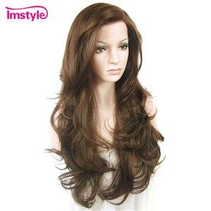 Image 2 - Imstyle כהה חום תחרה מול פאות סינטטי שיער פאה ארוך גלי פאות עבור נשים חום סיבים עמידים Glueless שיער 26 סנטימטרים