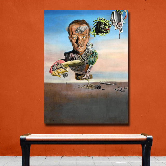 Wxkoil Salvador Dali  Portrait of Paul Eluard Canvas Wall Pictures for Living Room Office Bedroom Modern Canvas Oil Painting 1