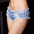 2016 Summer Style Women Fashion Denim Shorts Sexy Low Waist Tassel Mini Jeans Shorts Slim Fit Skinny Short Jeans Feminino