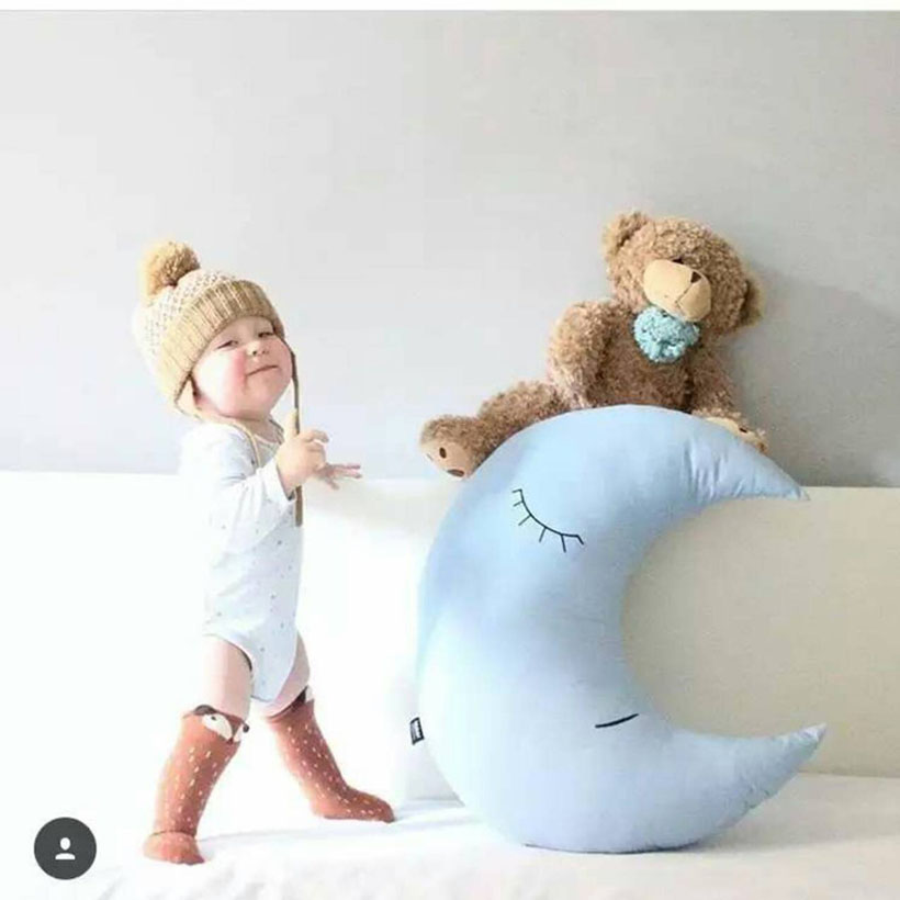 Baby Pillow Infantil Toddler Moon Sleep Pillow Baby Bed Toy Cute Kids Portable Bedroom Bedding Set Baby Room Decor