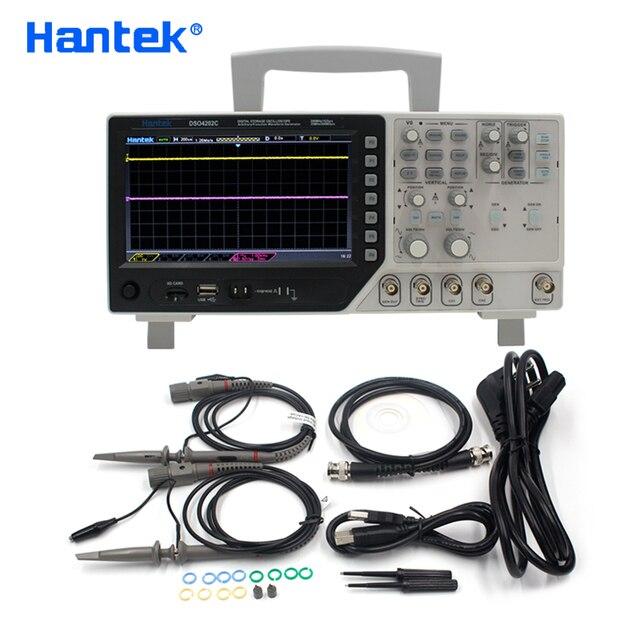 Hantek osciloscópio dso4202c 2 canais 200 mhz usb osciloscopio + arbitrário/função forma de onda gerador 1gsa/s taxa de amostra