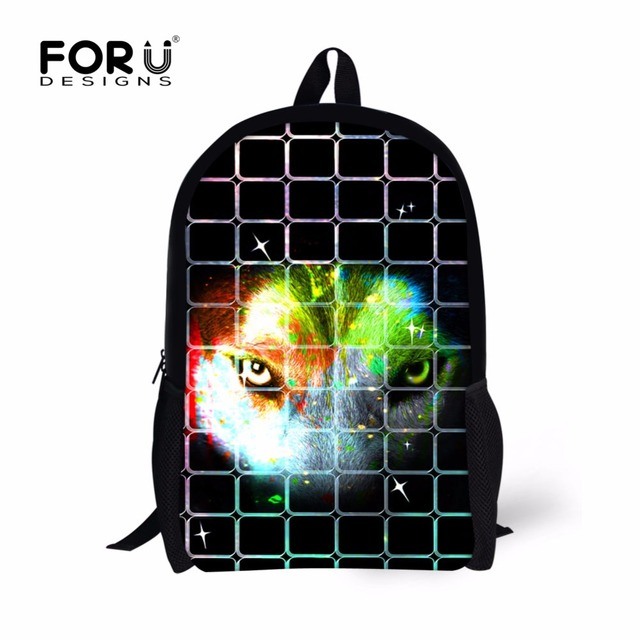 Forudesigns Cool Customized Kids School Bag Animal Wolf Print Book For Boys