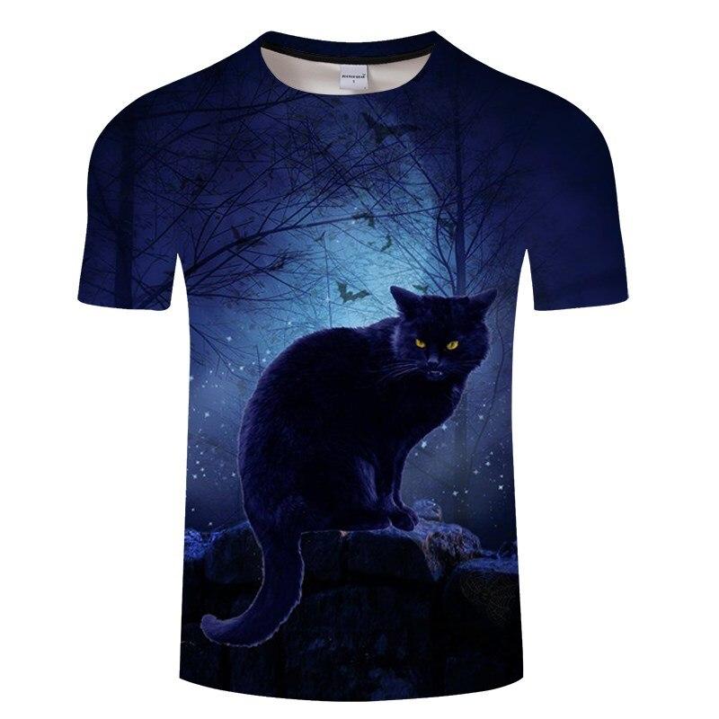 Черная футболка с 3D принтом кота для мужчин и женщин, летняя повседневная футболка с коротким рукавом и круглым вырезом, Топы И Футболки, Забавные футболки, Азиатские размеры S-6XL - Цвет: TXKH3143