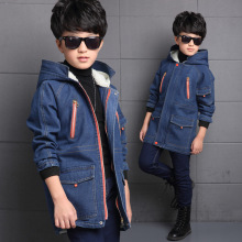 Hot Winter Big Boy Long Jean Coat Cotton padding Kid Hooded Overcoat High Quality Denim Children