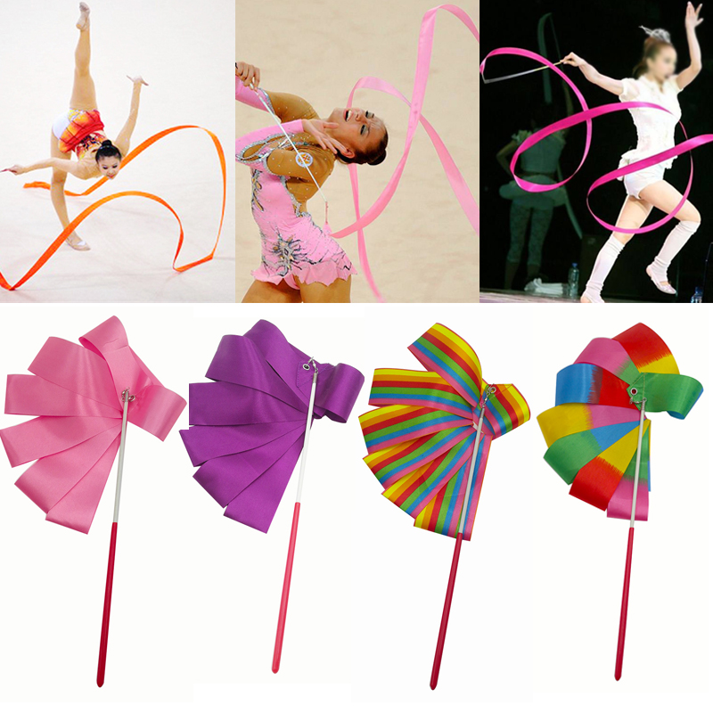 Colorful  Gym Ribbon Dance Ribbon Rhythmic Art Gymnastic Ballet Streamer Twirling Rod Stick For Gym Training 2M/4M